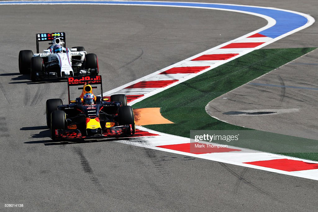 <a gi-track='captionPersonalityLinkClicked' href=/galleries/search?phrase=Daniel+Ricciardo&family=editorial&specificpeople=6547569 ng-click='$event.stopPropagation()'>Daniel Ricciardo</a> of Australia driving the (3) Red Bull Racing Red Bull-TAG Heuer RB12 TAG Heuer on track ahead of <a gi-track='captionPersonalityLinkClicked' href=/galleries/search?phrase=Valtteri+Bottas&family=editorial&specificpeople=8640136 ng-click='$event.stopPropagation()'>Valtteri Bottas</a> of Finland driving the (77) Williams Martini Racing Williams FW38 Mercedes PU106C Hybrid turbo during practice for the Formula One Grand Prix of Russia at Sochi Autodrom on April 29, 2016 in Sochi, Russia.