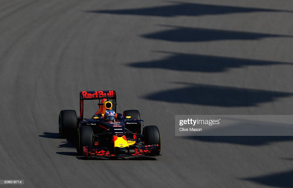 <a gi-track='captionPersonalityLinkClicked' href=/galleries/search?phrase=Daniel+Ricciardo&family=editorial&specificpeople=6547569 ng-click='$event.stopPropagation()'>Daniel Ricciardo</a> of Australia driving the (3) Red Bull Racing Red Bull-TAG Heuer RB12 TAG Heuer on track during practice for the Formula One Grand Prix of Russia at Sochi Autodrom on April 29, 2016 in Sochi, Russia.