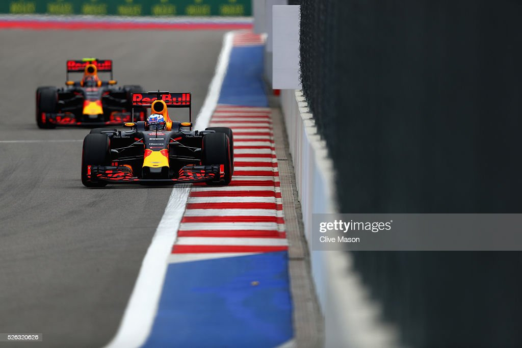 <a gi-track='captionPersonalityLinkClicked' href=/galleries/search?phrase=Daniel+Ricciardo&family=editorial&specificpeople=6547569 ng-click='$event.stopPropagation()'>Daniel Ricciardo</a> of Australia driving the (3) Red Bull Racing Red Bull-TAG Heuer RB12 TAG Heuer on track ahead of <a gi-track='captionPersonalityLinkClicked' href=/galleries/search?phrase=Daniil+Kvyat&family=editorial&specificpeople=10936016 ng-click='$event.stopPropagation()'>Daniil Kvyat</a> of Russia driving the (26) Red Bull Racing Red Bull-TAG Heuer RB12 TAG Heuer during final practice ahead of the Formula One Grand Prix of Russia at Sochi Autodrom on April 30, 2016 in Sochi, Russia.
