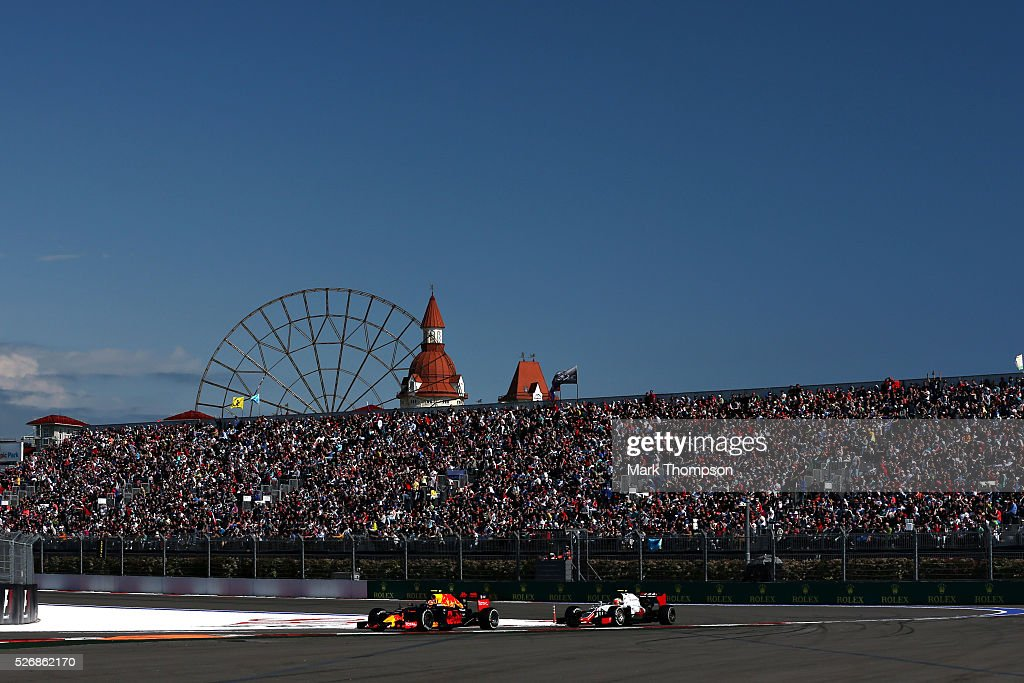 <a gi-track='captionPersonalityLinkClicked' href=/galleries/search?phrase=Daniel+Ricciardo&family=editorial&specificpeople=6547569 ng-click='$event.stopPropagation()'>Daniel Ricciardo</a> of Australia driving the (3) Red Bull Racing Red Bull-TAG Heuer RB12 TAG Heuer on track ahead of <a gi-track='captionPersonalityLinkClicked' href=/galleries/search?phrase=Romain+Grosjean&family=editorial&specificpeople=4858519 ng-click='$event.stopPropagation()'>Romain Grosjean</a> of France driving the (8) Haas F1 Team Haas-Ferrari VF-16 Ferrari 059/5 turbo during the Formula One Grand Prix of Russia at Sochi Autodrom on May 1, 2016 in Sochi, Russia.