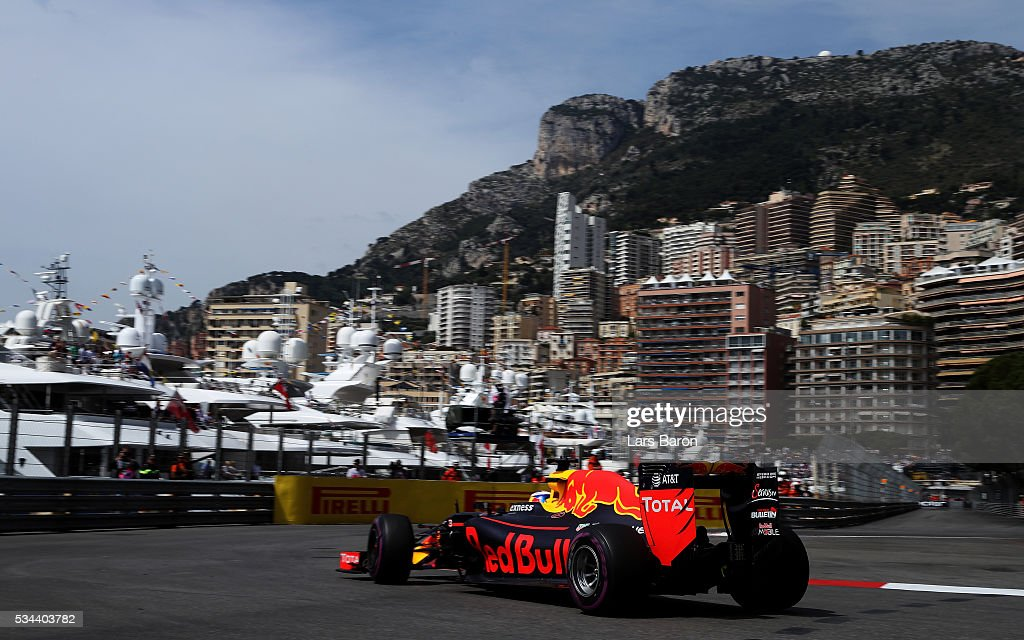 Daniel Ricciardo of Australia driving the (3) Red Bull Racing Red Bull-TAG Heuer RB12 TAG Heuer on track during practice for the Monaco Formula One Grand Prix at Circuit de Monaco on May 26, 2016 in Monte-Carlo, Monaco.