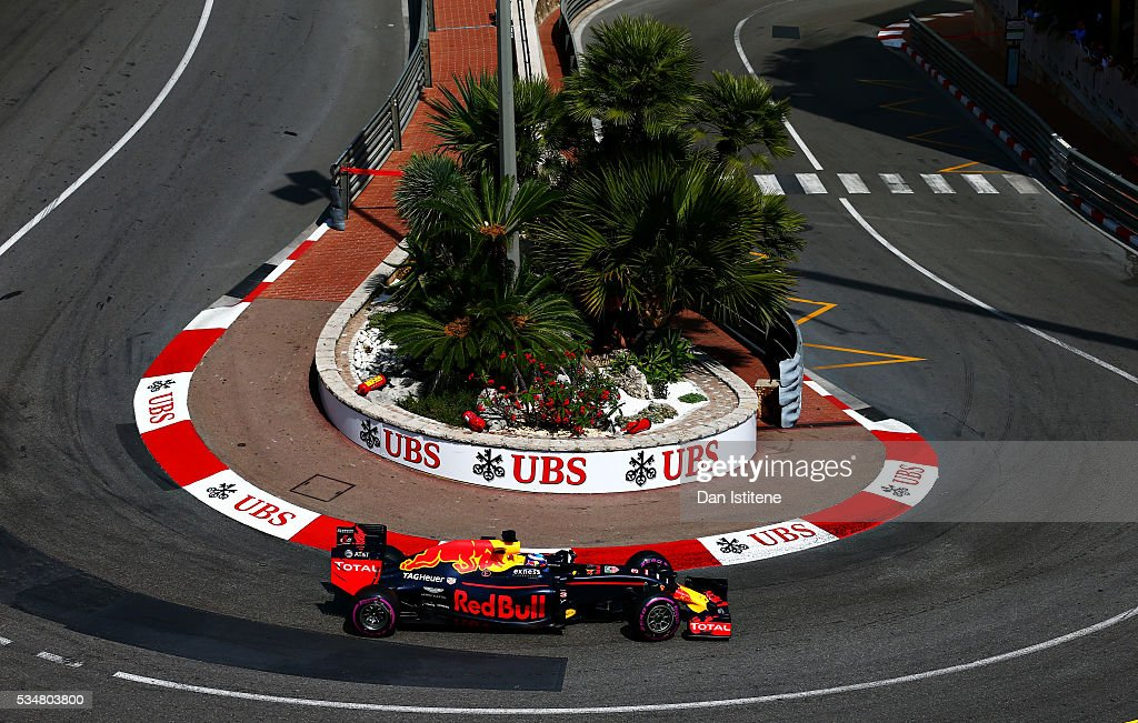 Daniel Ricciardo of Australia driving the Red Bull Racing Red BullTAG Heuer RB12 TAG Heuer on track during final practice ahead of the Monaco Formula...