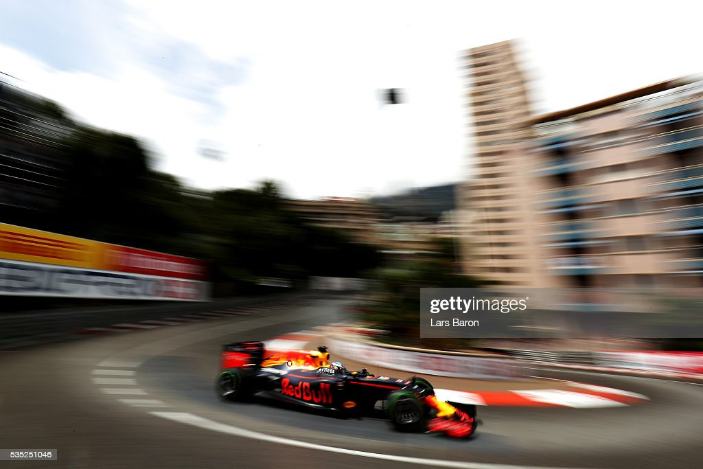 <a gi-track='captionPersonalityLinkClicked' href=/galleries/search?phrase=Daniel+Ricciardo&family=editorial&specificpeople=6547569 ng-click='$event.stopPropagation()'>Daniel Ricciardo</a> of Australia driving the (3) Red Bull Racing Red Bull-TAG Heuer RB12 TAG Heuer on track during the Monaco Formula One Grand Prix at Circuit de Monaco on May 29, 2016 in Monte-Carlo, Monaco.