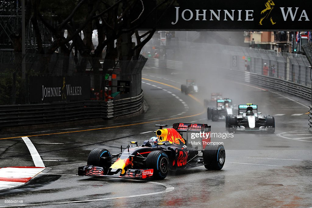 <a gi-track='captionPersonalityLinkClicked' href=/galleries/search?phrase=Daniel+Ricciardo&family=editorial&specificpeople=6547569 ng-click='$event.stopPropagation()'>Daniel Ricciardo</a> of Australia driving the (3) Red Bull Racing Red Bull-TAG Heuer RB12 TAG Heuer leads <a gi-track='captionPersonalityLinkClicked' href=/galleries/search?phrase=Nico+Rosberg&family=editorial&specificpeople=800808 ng-click='$event.stopPropagation()'>Nico Rosberg</a> of Germany driving the (6) Mercedes AMG Petronas F1 Team Mercedes F1 WO7 Mercedes PU106C Hybrid turbo and <a gi-track='captionPersonalityLinkClicked' href=/galleries/search?phrase=Lewis+Hamilton+-+Racecar+Driver&family=editorial&specificpeople=586983 ng-click='$event.stopPropagation()'>Lewis Hamilton</a> of Great Britain driving the (44) Mercedes AMG Petronas F1 Team Mercedes F1 WO7 Mercedes PU106C Hybrid turbo on track during the Monaco Formula One Grand Prix at Circuit de Monaco on May 29, 2016 in Monte-Carlo, Monaco.