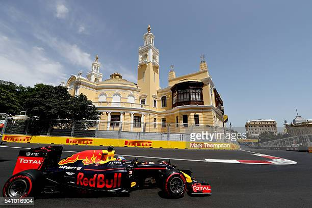 Daniel Ricciardo of Australia driving the Red Bull Racing Red BullTAG Heuer RB12 TAG Heuer on track during final practice before the European Formula...