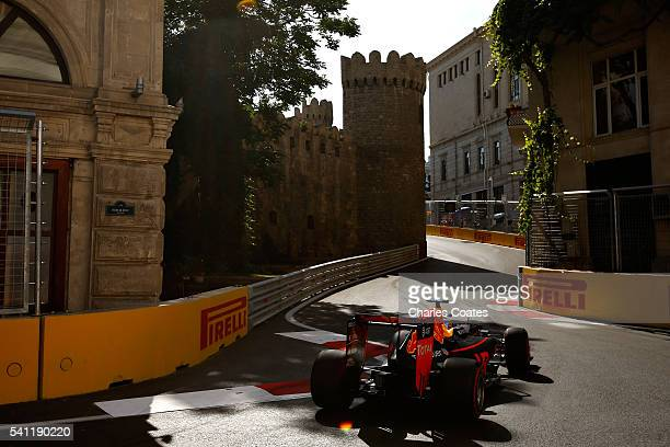 Daniel Ricciardo of Australia driving the Red Bull Racing Red BullTAG Heuer RB12 TAG Heuer on track during the European Formula One Grand Prix at...