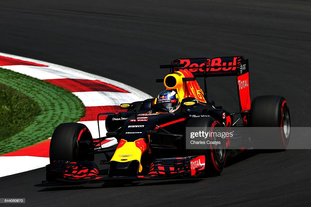 <a gi-track='captionPersonalityLinkClicked' href=/galleries/search?phrase=Daniel+Ricciardo&family=editorial&specificpeople=6547569 ng-click='$event.stopPropagation()'>Daniel Ricciardo</a> of Australia driving the (3) Red Bull Racing Red Bull-TAG Heuer RB12 TAG Heuer on track during practice for the Formula One Grand Prix of Austria at Red Bull Ring on July 1, 2016 in Spielberg, Austria.