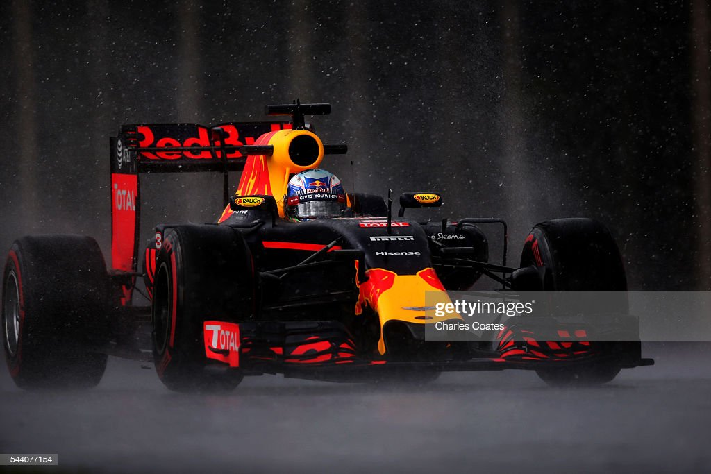 Daniel Ricciardo of Australia driving the (3) Red Bull Racing Red Bull-TAG Heuer RB12 TAG Heuer on track during practice for the Formula One Grand Prix of Austria at Red Bull Ring on July 1, 2016 in Spielberg, Austria.