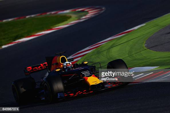 Daniel Ricciardo of Australia driving the Red Bull Racing Red BullTAG Heuer RB13 TAG Heuer on track during day one of Formula One winter testing at...