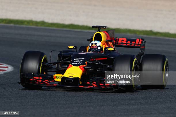 Daniel Ricciardo of Australia driving the Red Bull Racing Red BullTAG Heuer RB13 TAG Heuer on track during day three of Formula One winter testing at...