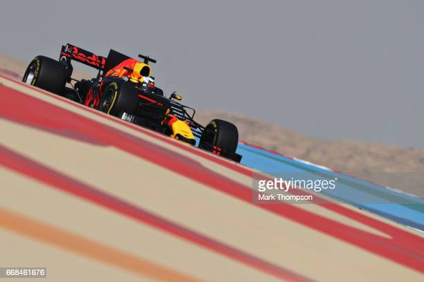 Daniel Ricciardo of Australia driving the Red Bull Racing Red BullTAG Heuer RB13 TAG Heuer on track during practice for the Bahrain Formula One Grand...