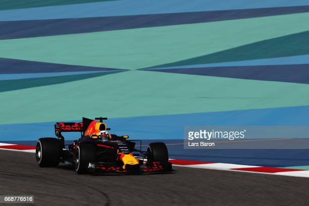 Daniel Ricciardo of Australia driving the Red Bull Racing Red BullTAG Heuer RB13 TAG Heuer on track during final practice for the Bahrain Formula One...