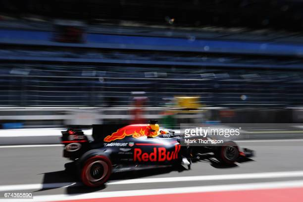 Daniel Ricciardo of Australia driving the Red Bull Racing Red BullTAG Heuer RB13 TAG Heuer in the Pitlane during practice for the Formula One Grand...