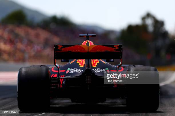 Daniel Ricciardo of Australia driving the Red Bull Racing Red BullTAG Heuer RB13 TAG Heuer leaves the pits during practice for the Spanish Formula...