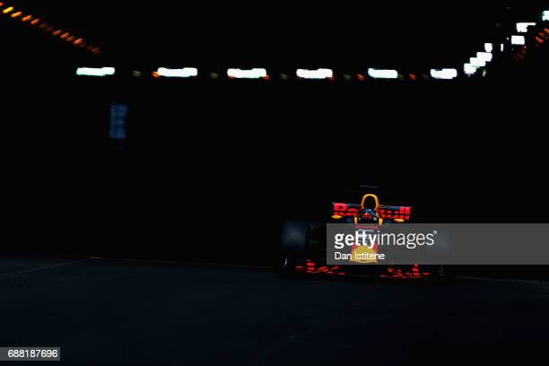 Daniel Ricciardo of Australia driving the Red Bull Racing Red BullTAG Heuer RB13 TAG Heuer on track during practice for the Monaco Formula One Grand...