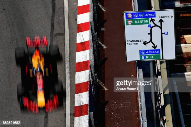 Daniel Ricciardo of Australia driving the Red Bull Racing Red BullTAG Heuer RB13 TAG Heuer on track during the Monaco Formula One Grand Prix at...