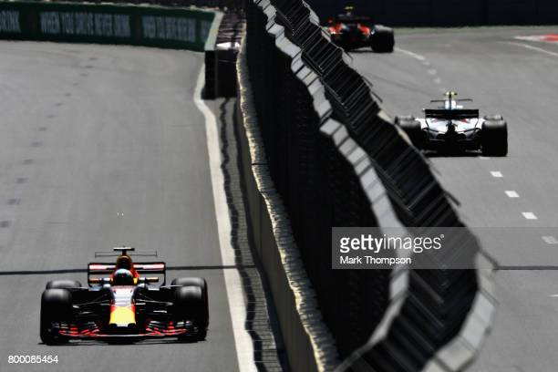Daniel Ricciardo of Australia driving the Red Bull Racing Red BullTAG Heuer RB13 TAG Heuer on track during practice for the Azerbaijan Formula One...