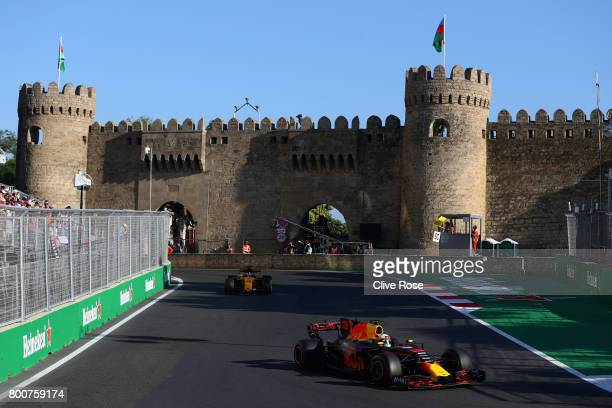 Daniel Ricciardo of Australia driving the Red Bull Racing Red BullTAG Heuer RB13 TAG Heuer on track during the Azerbaijan Formula One Grand Prix at...