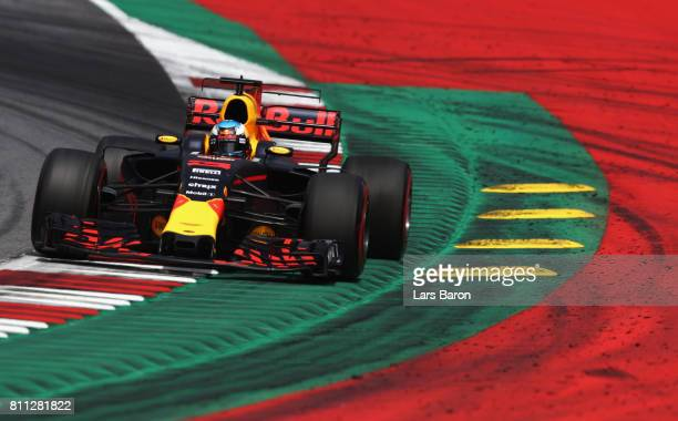 Daniel Ricciardo of Australia driving the Red Bull Racing Red BullTAG Heuer RB13 TAG Heuer on track during the Formula One Grand Prix of Austria at...
