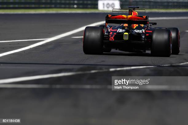 Daniel Ricciardo of Australia driving the Red Bull Racing Red BullTAG Heuer RB13 TAG Heuer leaves the pits during final practice for the Formula One...