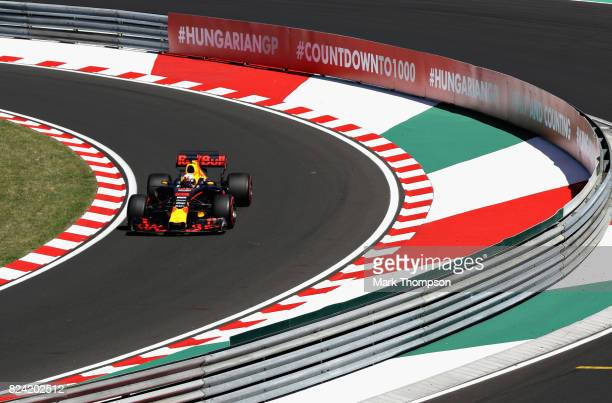 Daniel Ricciardo of Australia driving the Red Bull Racing Red BullTAG Heuer RB13 TAG Heuer enter the pit lane during qualifying for the Formula One...