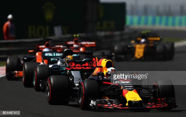 Daniel Ricciardo of Australia driving the Red Bull Racing Red BullTAG Heuer RB13 TAG Heuer on track during the Formula One Grand Prix of Hungary at...