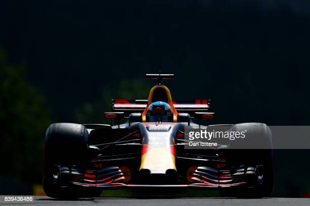 Daniel Ricciardo of Australia driving the Red Bull Racing Red BullTAG Heuer RB13 TAG Heuer on track during final practice for the Formula One Grand...