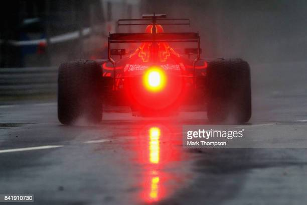 Daniel Ricciardo of Australia driving the Red Bull Racing Red BullTAG Heuer RB13 TAG Heuer leaves the pitlane during qualifying for the Formula One...