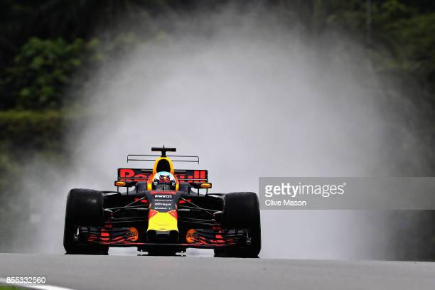 Daniel Ricciardo of Australia driving the Red Bull Racing Red BullTAG Heuer RB13 TAG Heuer on track during practice for the Malaysia Formula One...