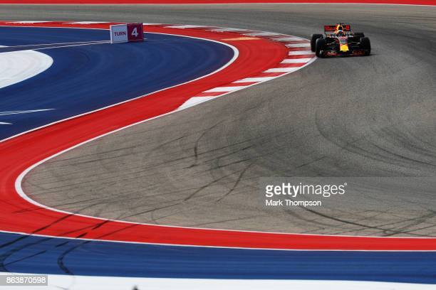 Daniel Ricciardo of Australia driving the Red Bull Racing Red BullTAG Heuer RB13 TAG Heuer on track during practice for the United States Formula One...