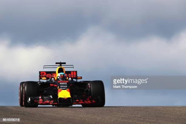 Daniel Ricciardo of Australia driving the Red Bull Racing Red BullTAG Heuer RB13 TAG Heuer on track during final practice for the United States...