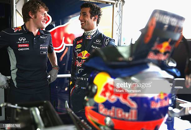 Daniel Ricciardo of Australia prepares to drive for the Infiniti Red Bull Racing team during the young drivers test at Silverstone Circuit on July 18...