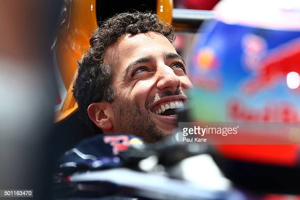 Daniel Ricciardo of Infiniti Red Bull Racing smiles while being prepared for a run during the Perth Speed Fest at Perth Motorplex on December 13 2015...