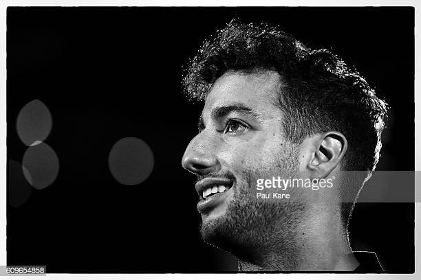 Daniel Ricciardo of Red Bull Racing talks with reporters at Crown Sports Bar on September 22 2016 in Perth Australia Ricciardo helped to design the...