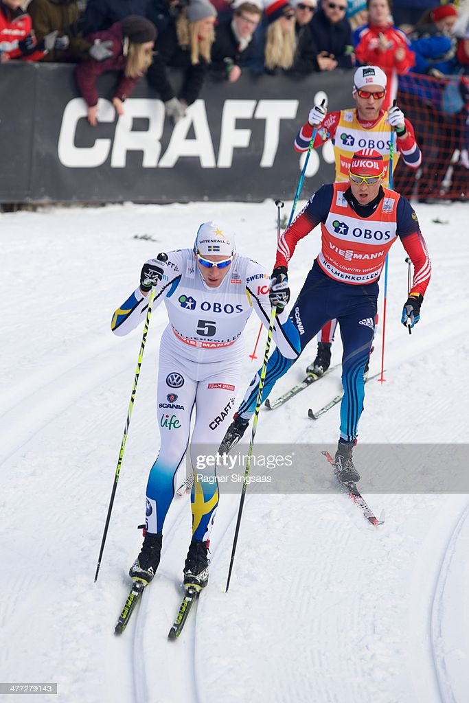 Daniel Richardsson of Sweden, <a gi-track='captionPersonalityLinkClicked' href=/galleries/search?phrase=Alexander+Legkov&family=editorial&specificpeople=4037875 ng-click='$event.stopPropagation()'>Alexander Legkov</a> of Russia and <a gi-track='captionPersonalityLinkClicked' href=/galleries/search?phrase=Martin+Johnsrud+Sundby&family=editorial&specificpeople=4668146 ng-click='$event.stopPropagation()'>Martin Johnsrud Sundby</a> of Norway compete during the FIS Men's Cross Country 50km World Cup Mass Start race on March 8, 2014 in Oslo, Norway.