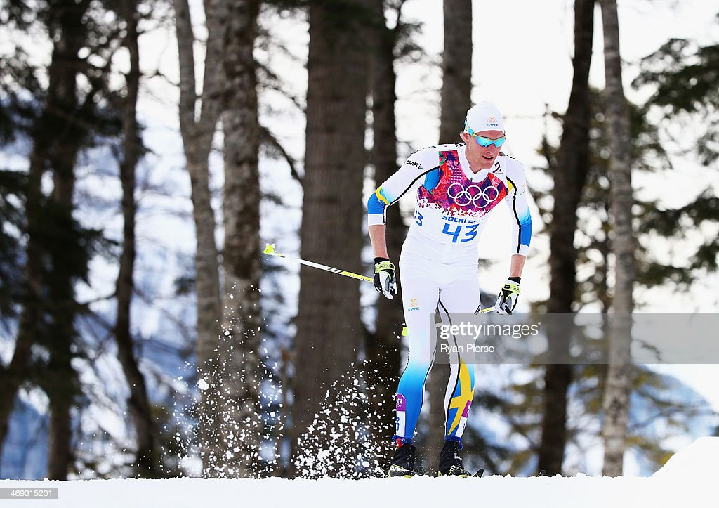 Daniel Richardsson of Sweden competes during the Cross Country Men's 15km Classic on day seven of the Sochi 2014 Winter Oympics at Laura Cross-country Ski & Biathlon Center on February 14, 2014 in Sochi, Russia.