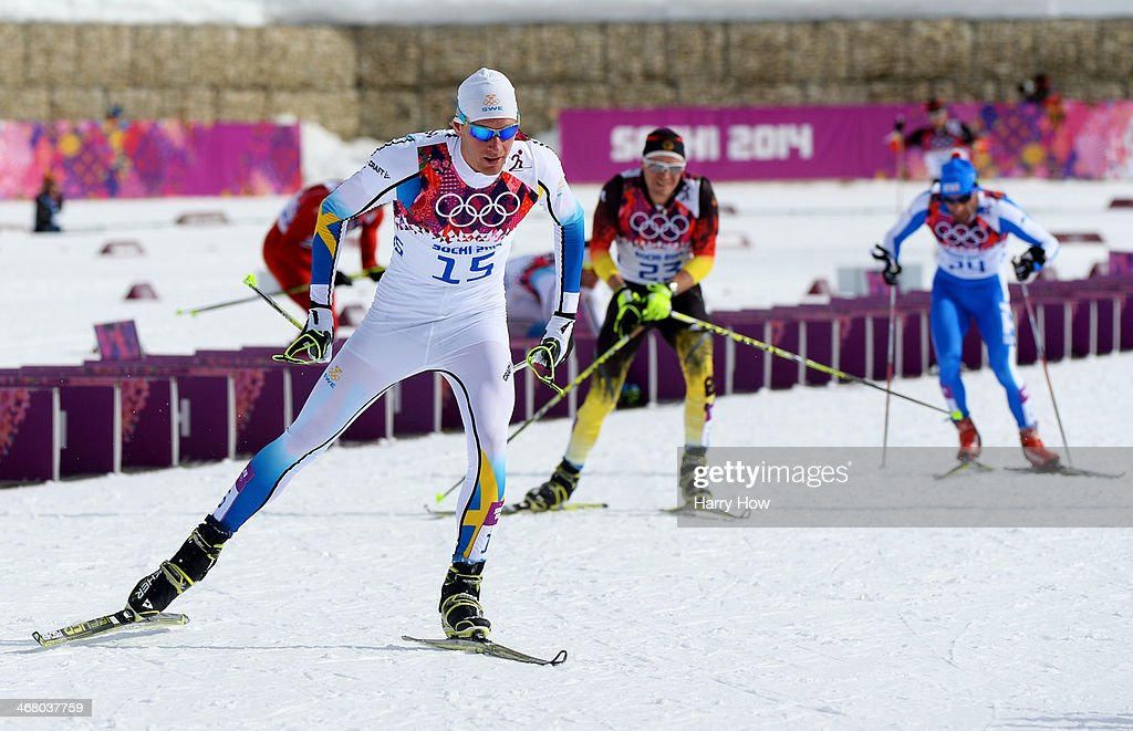 Daniel Richardsson of Sweden competes in the Men's Skiathlon 15 km Classic + 15 km Free during day two of the Sochi 2014 Winter Olympics at Laura Cross-country Ski & Biathlon Center on February 9, 2014 in Sochi, Russia.