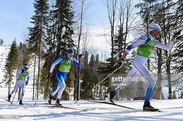 Daniel Richardsson of Sweden Iivo Niskanen of Finland and Maurice Manificat of France compete on the second leg of the Cross Country Men's 4 x 10 km...