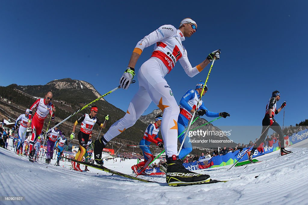 Daniel Richardsson of Sweden in action during the Men's Cross Country Relay 4x10 Km at the FIS Nordic World Ski Championships on March 1, 2013 in Val di Fiemme, Italy.
