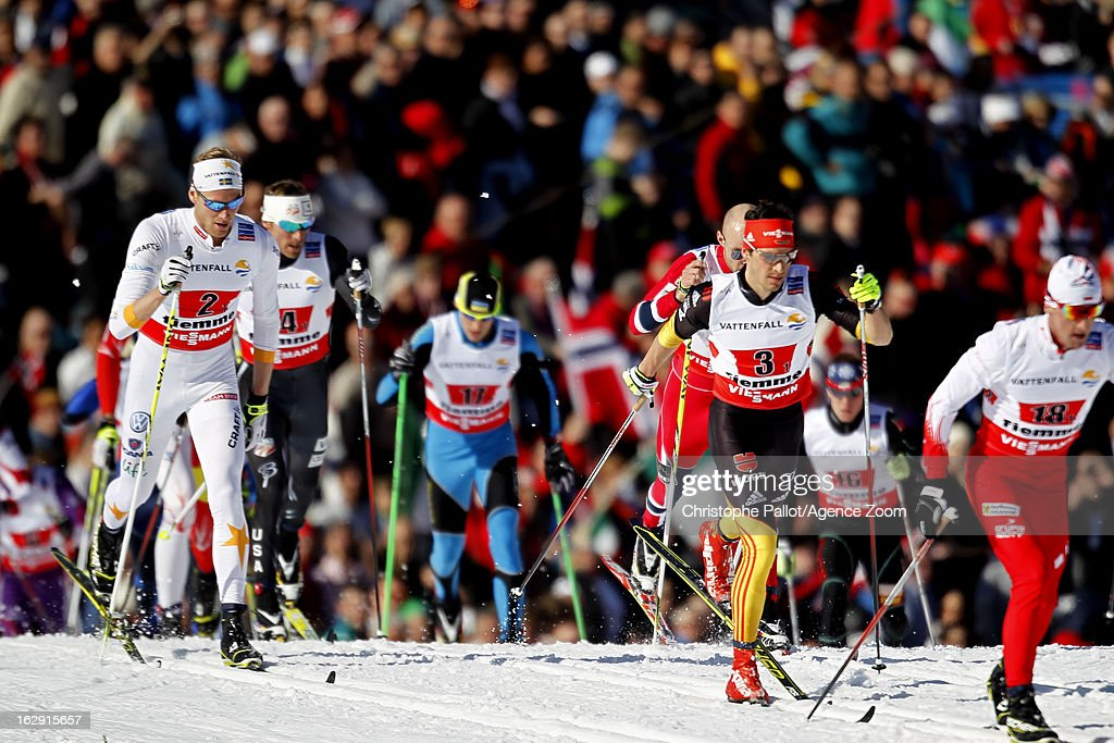Daniel Richardsson (L) of Sweden takes the silver medal during the FIS Nordic World Ski Championships Cross Country Men's Relay on March 01, 2013 in Val di Fiemme, Italy.