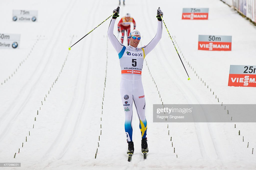Daniel Richardsson of Sweden wins the FIS Men's Cross Country 50km World Cup Mass Start race on March 8, 2014 in Oslo, Norway.