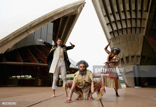 Daniel Riley Beau Dean Riley Smith and Elma Kris pose during a media call for Bangarra's new production 'Bennelong' at Sydney Opera House on June 28...