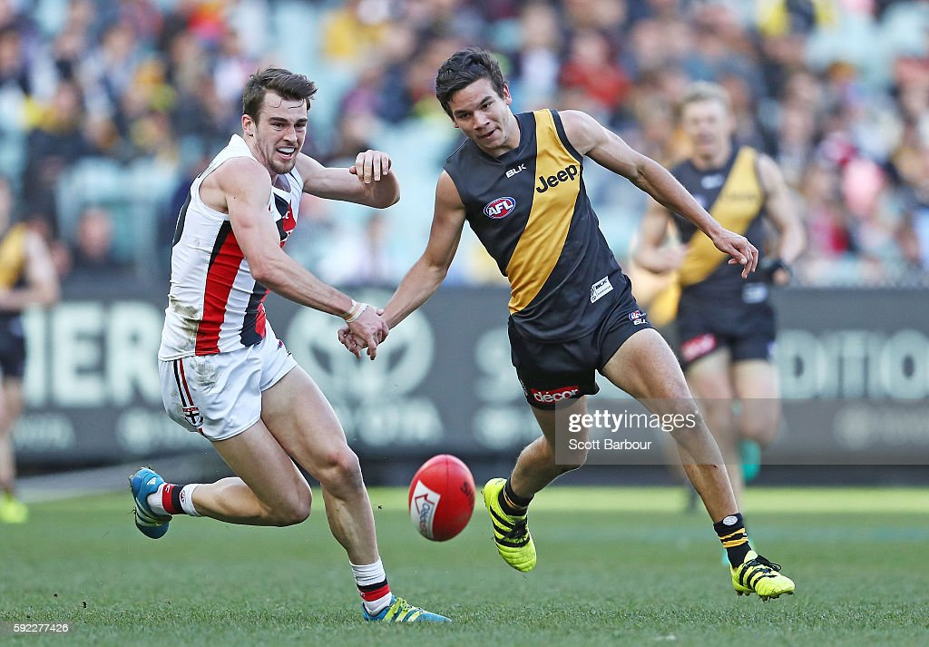 Daniel Rioli of the Tigers competes for the ball during the round 22 AFL match between the Richmond Tigers and the St Kilda Saints at Melbourne...