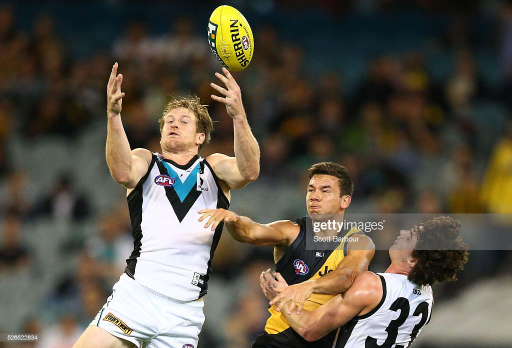 Daniel Rioli of the Tigers competes for the ball during the round six AFL match between the Richmond Tigers and the Port Adelaide Power at Melbourne Cricket Ground on April 30, 2016 in Melbourne, Australia.