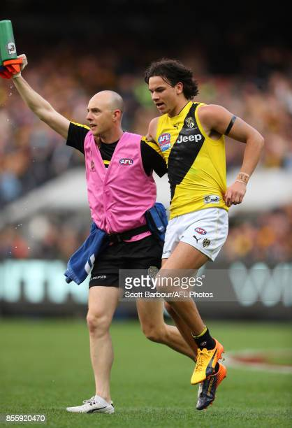 Daniel Rioli of the Tigers leaves the field injured during the 2017 AFL Grand Final match between the Adelaide Crows and the Richmond Tigers at...