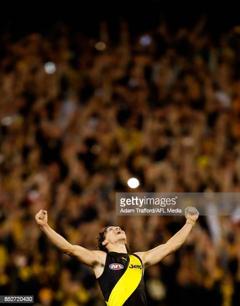 Daniel Rioli of the Tigers reacts on the final siren during the 2017 AFL Second Preliminary Final match between the Richmond Tigers and the GWS...