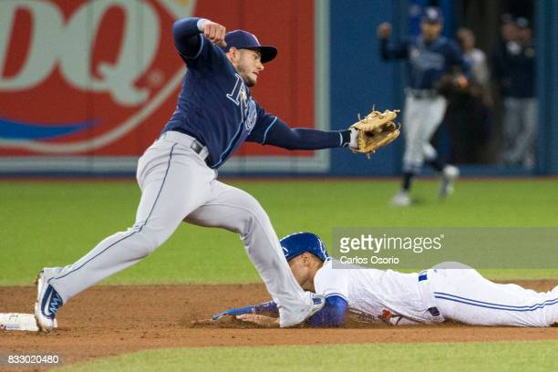 TORONTO ON AUGUST 16 Daniel Robertson of the Rays steps on Ryan Goins of the Blue Jays as he slides into second base during the 6th inning of MLB...