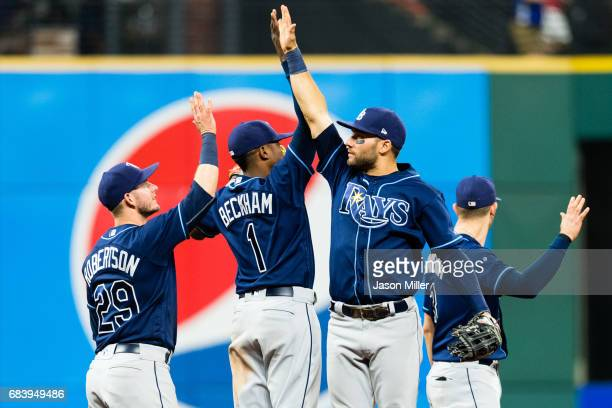 Daniel Robertson Tim Beckham Kevin Kiermaier and Evan Longoria of the Tampa Bay Rays celebrate after the Rays defeated the Cleveland Indians at...