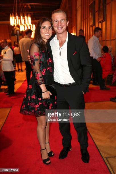 Daniel Roesner and his girlfriend Cara Stalder during the church wedding of Erdogan Atalay and Katja Ohneck at Heidelberg Castle on September 30 2017...
