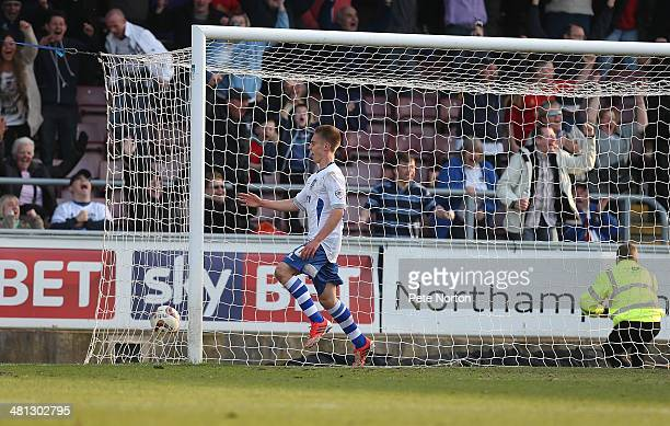 Daniel Rose of Bury celebrates after scoring his sides third goal during the Sky Bet League Two match between Northampton Town and Bury at Sixfields...